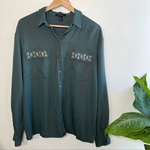 Forever 21 army green embellished button up blouse